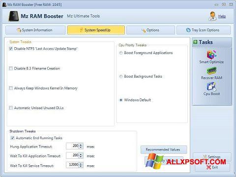 لقطة شاشة Mz RAM Booster لنظام التشغيل Windows XP