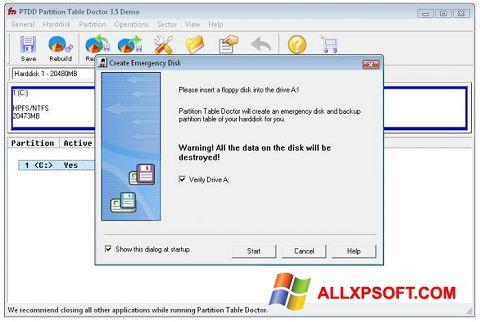 لقطة شاشة Partition Table Doctor لنظام التشغيل Windows XP