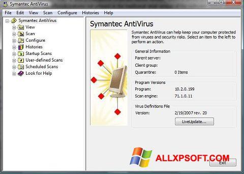 لقطة شاشة Symantec Antivirus لنظام التشغيل Windows XP