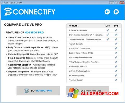 لقطة شاشة Connectify Beta لنظام التشغيل Windows XP