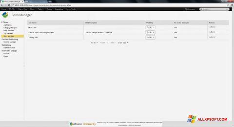 لقطة شاشة Alfresco لنظام التشغيل Windows XP