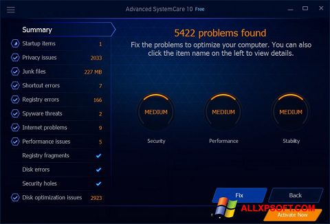 لقطة شاشة Advanced SystemCare Free لنظام التشغيل Windows XP