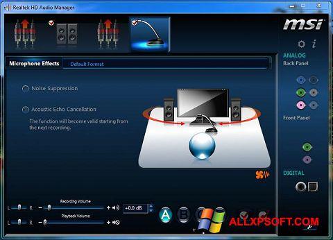 لقطة شاشة Realtek Audio Driver لنظام التشغيل Windows XP