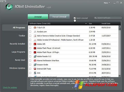 لقطة شاشة IObit Uninstaller لنظام التشغيل Windows XP