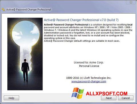 لقطة شاشة Active Password Changer لنظام التشغيل Windows XP