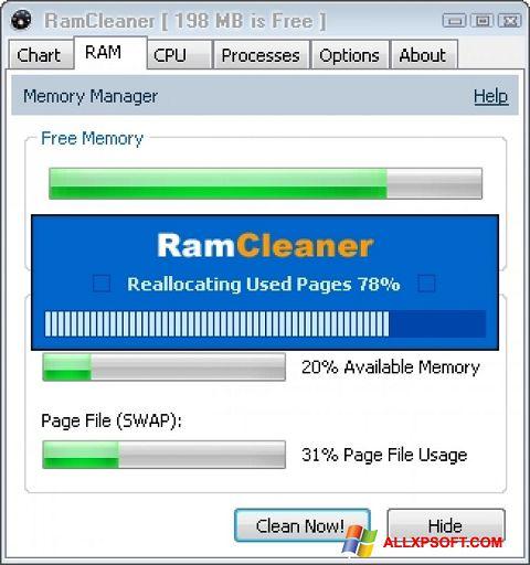 لقطة شاشة RamCleaner لنظام التشغيل Windows XP