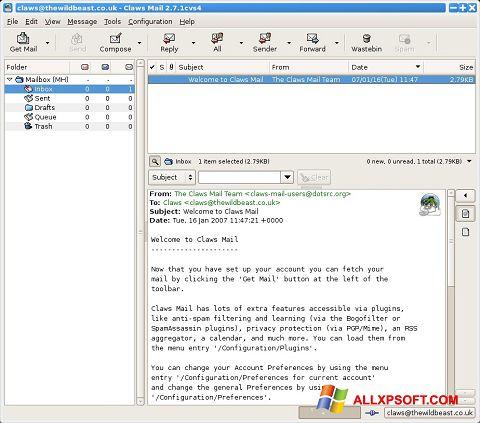 لقطة شاشة Claws Mail لنظام التشغيل Windows XP