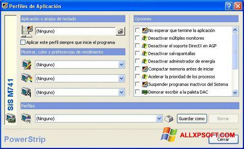 لقطة شاشة PowerStrip لنظام التشغيل Windows XP