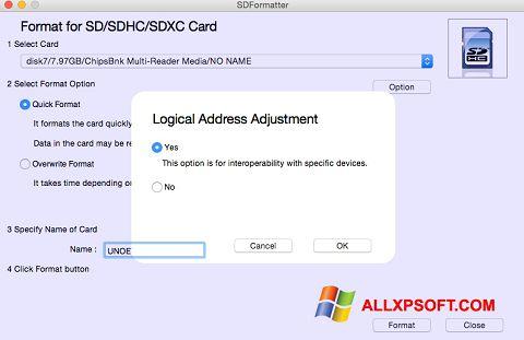 لقطة شاشة SDFormatter لنظام التشغيل Windows XP