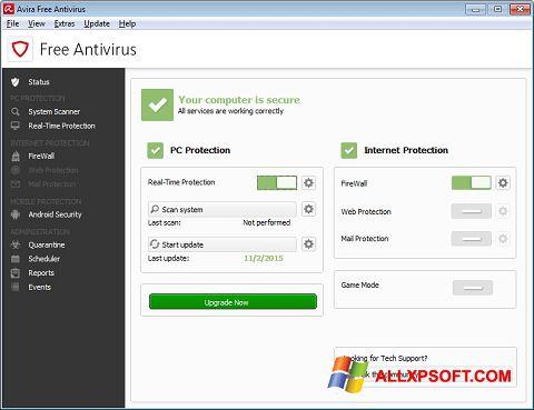 لقطة شاشة Avira Free Antivirus لنظام التشغيل Windows XP