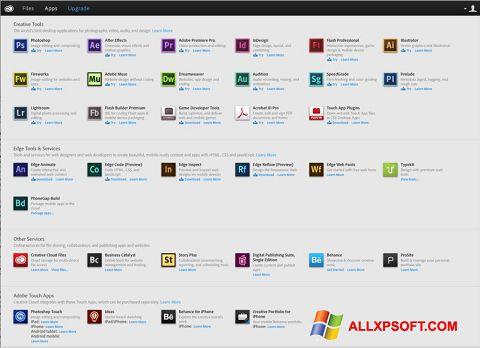 لقطة شاشة Adobe Creative Cloud لنظام التشغيل Windows XP
