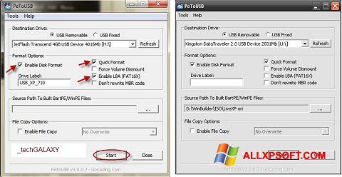 لقطة شاشة PeToUSB لنظام التشغيل Windows XP