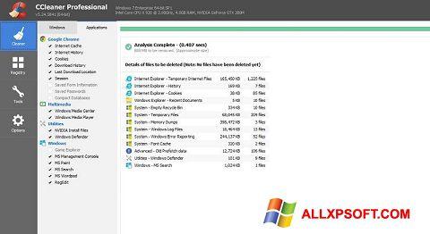 لقطة شاشة CCleaner Professional Plus لنظام التشغيل Windows XP