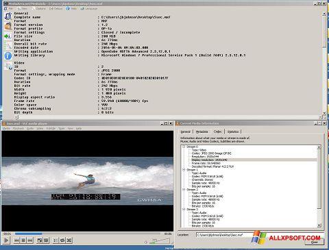 لقطة شاشة MediaInfo لنظام التشغيل Windows XP