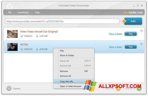 لقطة شاشة Freemake Video Downloader لنظام التشغيل Windows XP