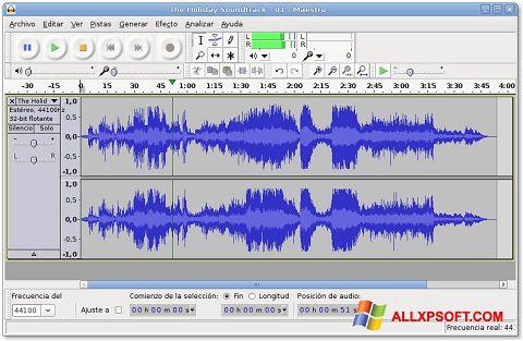 لقطة شاشة Audacity لنظام التشغيل Windows XP