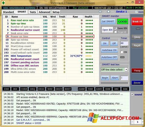 لقطة شاشة Victoria لنظام التشغيل Windows XP