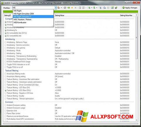 لقطة شاشة NVIDIA Inspector لنظام التشغيل Windows XP