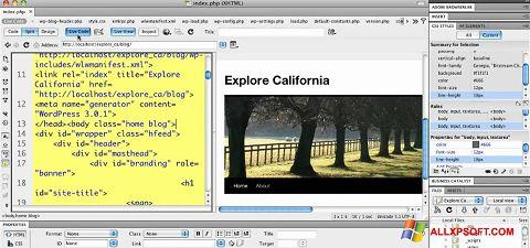 لقطة شاشة Adobe Dreamweaver لنظام التشغيل Windows XP