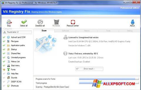 لقطة شاشة Vit Registry Fix لنظام التشغيل Windows XP