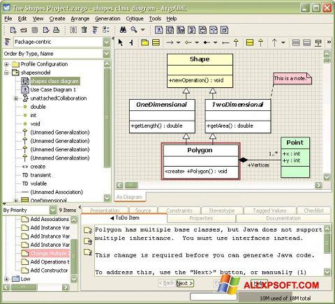 لقطة شاشة ArgoUML لنظام التشغيل Windows XP