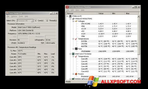 لقطة شاشة Core Temp لنظام التشغيل Windows XP