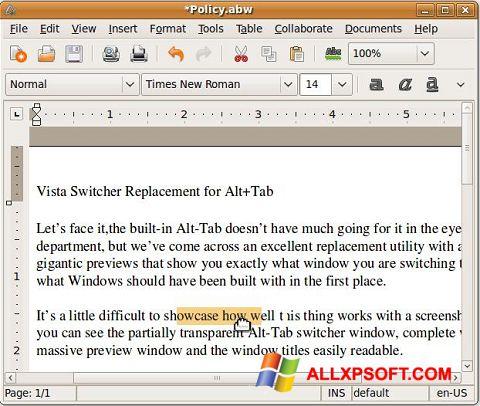 لقطة شاشة AbiWord لنظام التشغيل Windows XP