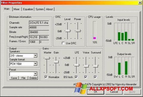 لقطة شاشة AC3 Codec لنظام التشغيل Windows XP