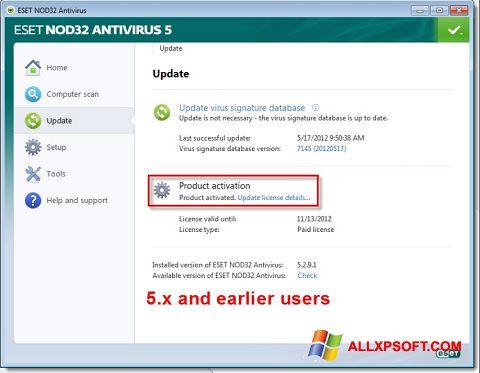 لقطة شاشة ESET NOD32 لنظام التشغيل Windows XP