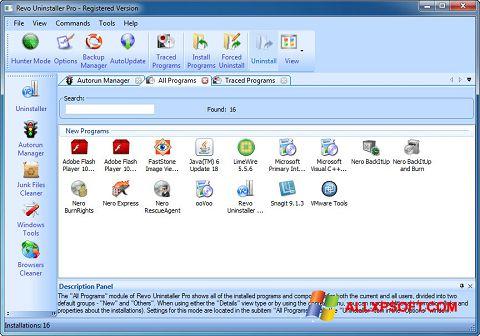 لقطة شاشة Revo Uninstaller Pro لنظام التشغيل Windows XP